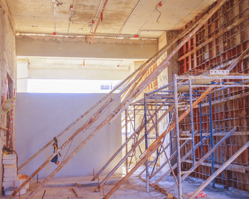 Scaffolding for inside buildings
